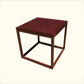 Wood Top End Table with Square Metal Frame - Redcarpetsystems.com