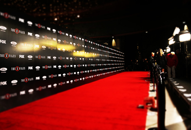 X-Files step-and-repeat banner & Kino Flow Light Rental for Events Red Carpet Arrivals u0026 Premieres ...