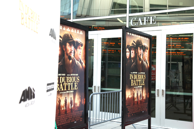 in dubious battle hollywood red carpet premiere installation