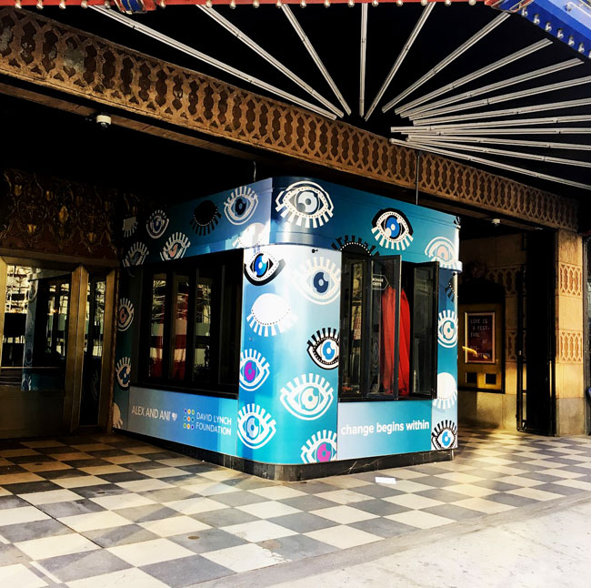 Ace Hotel Ticket Booth branded with David Lynch Foundation