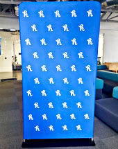 Tension fabric with 8'H x 4'W stand - Redcarpetsystems.com